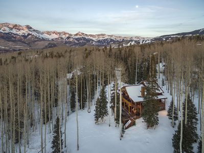 aerial view of ski runs in Mountain Village  and cabin