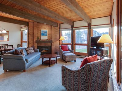 Photo for Ground floor condo near ski lifts w/ shared pool, hot tub, & gas fireplace!