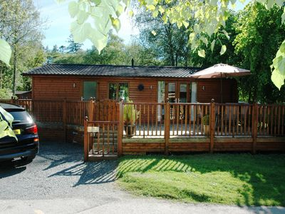 Photo for Log cabin with private hot tub on shores of Lake Windermere, Lake District