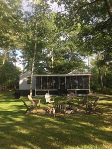 Screened Porch with Fire Pit and Lake View