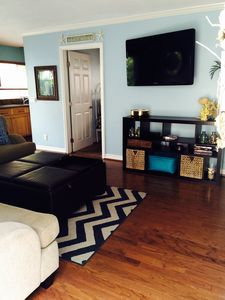 View of flat screen in family room. Clean & comfortable with great breeze.