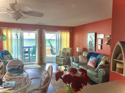 Your living area is cheerful and cozy and  the Atlantic is your back yard.