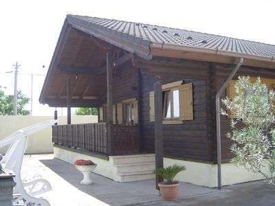 Photo for Wooden chalet with pool