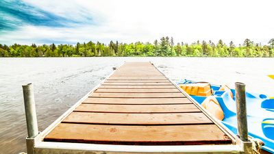 Floating dock with mooring cleat for your watercraft.