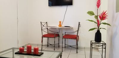 Dining table/workstation (table is retractable). HDMI available for ur laptop.