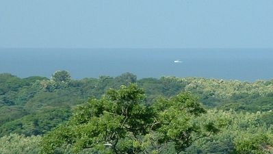 View from the living room - a boat in the Pacific Ocean about two miles away