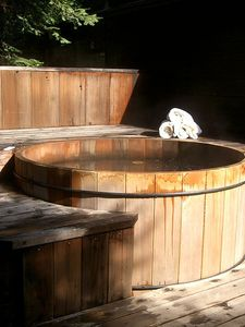 Soak in our cedar Japanese Hot tub under the stars