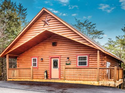 Photo for Newer Resort Cabin Theater, Sleeps 8, 2 King Suites, Hot Tub, near attractions