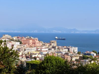 View of Historic Centre and the Bay of Naples. Sorrento on the far shore