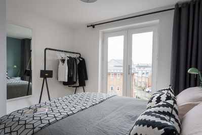 Master bedroom clothes hanging area