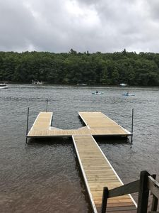 Your private dock with slip space for your boat & swim ladder for the family!