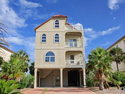"""Photo for Ready After Hurricane Michael! FREE BEACH GEAR! East End Beach View, Elevator, Fireplace, 5BR/5BA """"Goodnight Moon"""""""