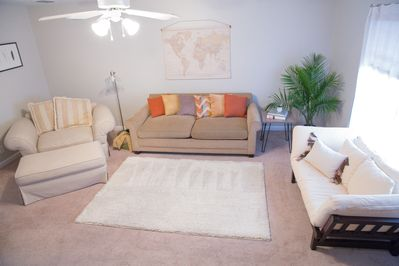 Living room with couch and futon