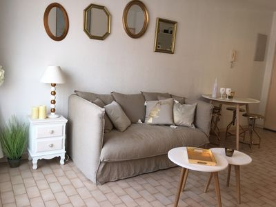 Photo for Under the palm trees, Gulf of St Tropez. 100 m from the sea, shops, garage.