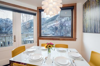 Dining table seats up to six guests and has the best views in the house!