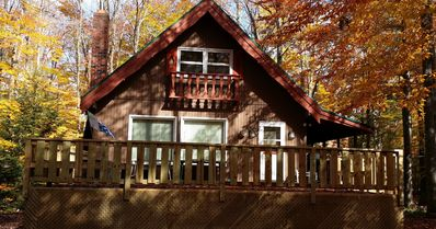 Photo for Beautiful Mountain Cabin 1 block from State Forest - Hot tub and Free WiFi