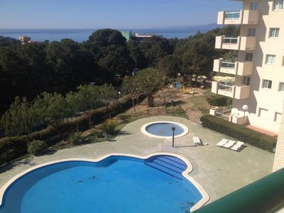 Photo for ideal family economic apartment 7 pers sea view and pool - 3 bedrooms - wifi