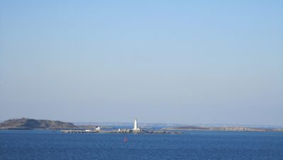 North view from house: Boston Light and Harbor Islands, a US National Park