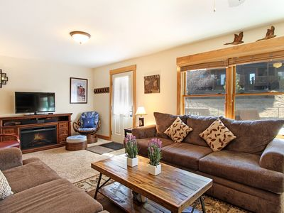 Photo for Notchtop Mountain 205 - 2 Br condo with fireplace, Marys Lake and mountain views!