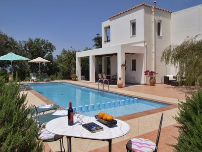 Photo for Luxury villa with large private pool, sea and mountain views in Vamos, Crete