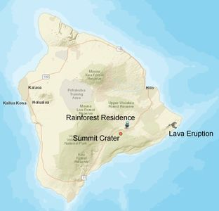 The Rainforest Residence is 20 miles from the lava eruption.