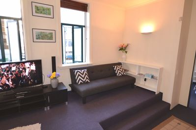Lounge separates 2 bedrooms