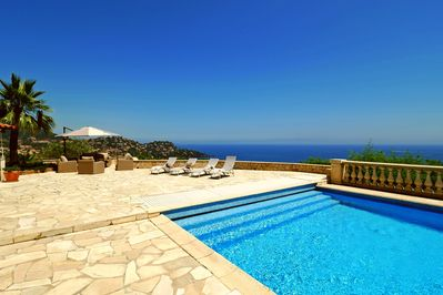 Pool area with beautiful panorama view of Ile Sainte-Marguerite outside Cannes.