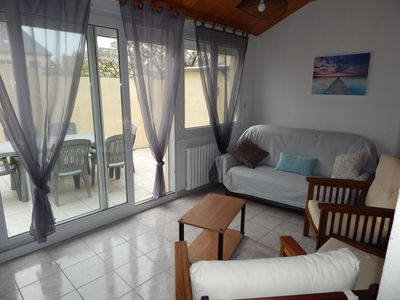 Photo for Beach holiday house of the furrow at 800 meters, terrace, private parking