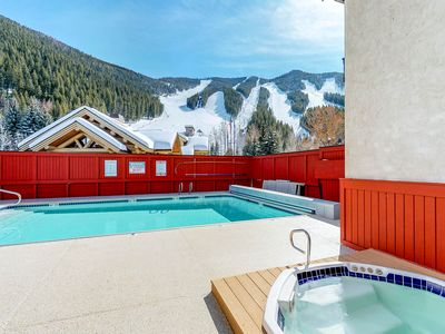 Photo for Ski-in/ski-out alpine condo with shared seasonal pool, hot tub, sauna, & views