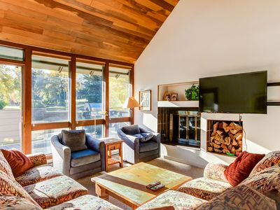 Photo for Cozy chalet w/ private patio - close to Silver Star Ski Lift