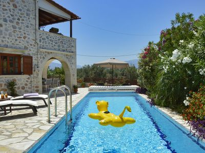 Photo for Detached 3 bedroom stone Villa with superb outlook, private pool, air con, BBQ.