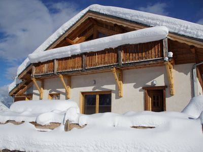 Photo for Rustic 12-person Chalet with wood burning stove in family-friendly Valloire