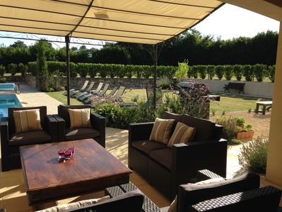 Relax by the pool, in the sun or shade in the private south facing gardens