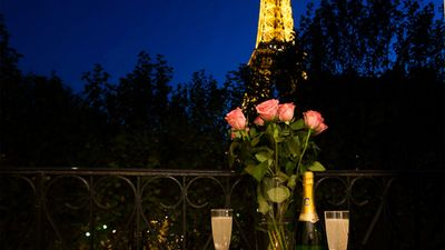 Romantic balcony with Eiffel Tower views