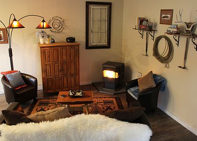 Relaxing space with pellet stove