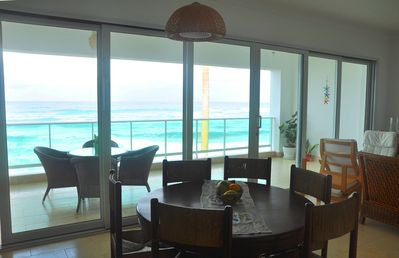 Photo for Beachfront 3BD condo with great sea views in quiet gated residence with pool