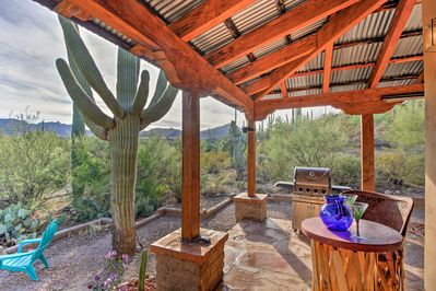 Greet the morning on your back patio with views of Saguaro National Park!