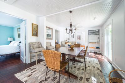 The dining room is open to the kitchen and acts as the gathering space.