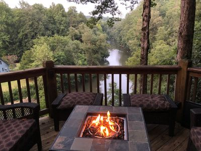 Beautiful view overlooking Coosawattee River from lower propane fire pit deck