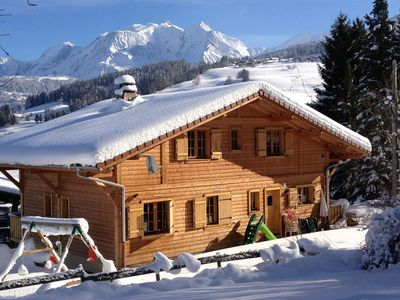 Photo for 4 star luxury Savoy style chalet. View of Mont Blanc. Free wireless