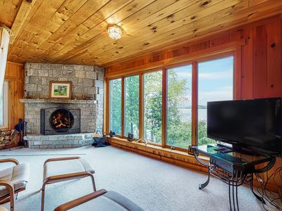 Photo for Waterfront log cabin w/ dock, firepit, deck & incredible lake views - Dogs OK!