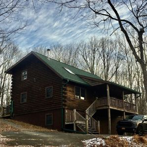 Photo for LOG CABIN featuring INDOOR hot tub, & game room -Pets Welcomed- Hilltop Hideaway