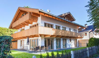 Photo for Sunny apartment on the ground floor with stunning views of the Zugspitze.