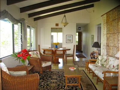 Comfy Living Room, Formal Dining in Hawaiiana Style - Authentic Tapa Cloth