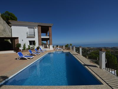 Photo for Villa with stunning panoramic views to the sea, privacy and swimming pool