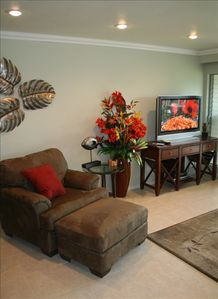 Living Room Chair & 42' HDTV with HD Cable