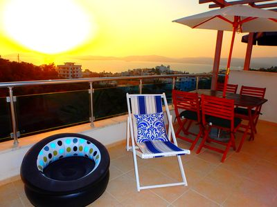 Photo for Freshly refurbished modern 2 bedroom Penthouse with views of Aegean