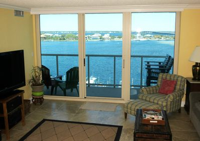 view of Little Sabine Bay and beach bridge from living room