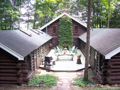Photo for Iconic lakefront log cabin