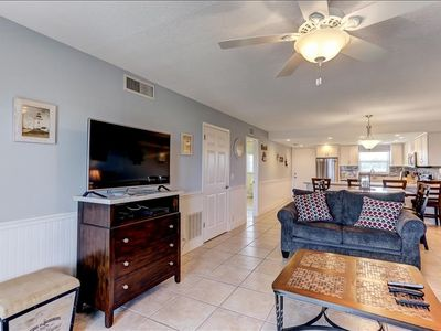 Great Second Floor 2 Bed/2 Bath oceanfront condo sleeps 8.  W/D,  private fishing pier, balcony, tennis  & pool.